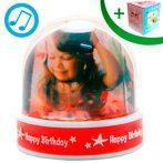 Музикално преспапие - Happy Birthday (сребристи частици)