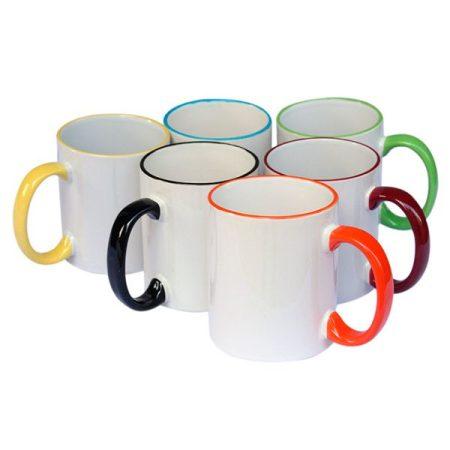 Бяла чаша с цветен кант и дръжка