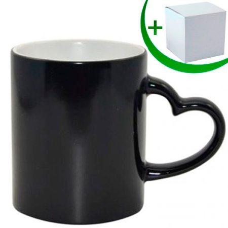 Черна магическа чаша с дръжка сърце, SEMI GLOSSY, Best Sublimation