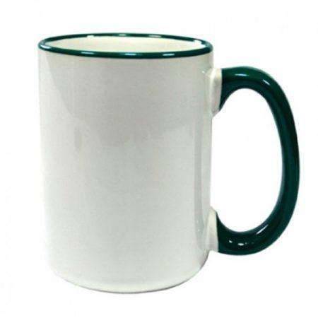 Бяла чаша с цветен елемент - висока