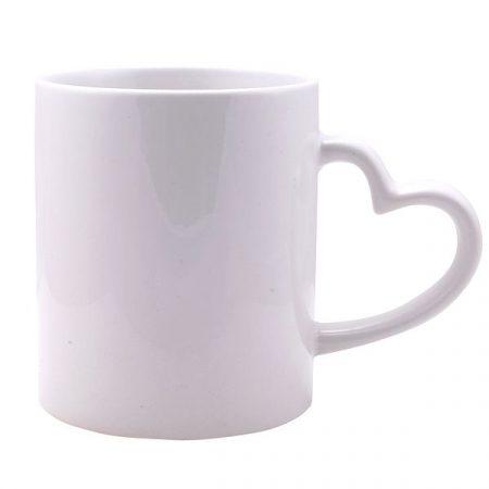 11 oz white mug with heart handle