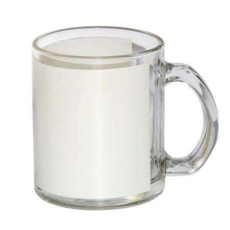 Glass mug with white patch