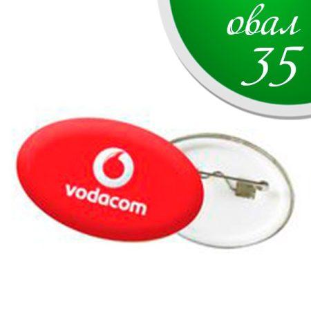 Badges 35 mm plastic back - OVAL