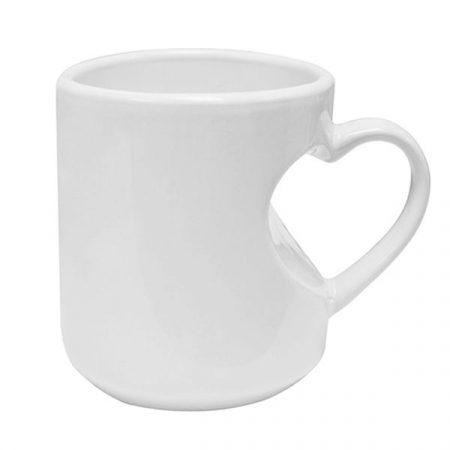 Heart Shape Handled White Mug