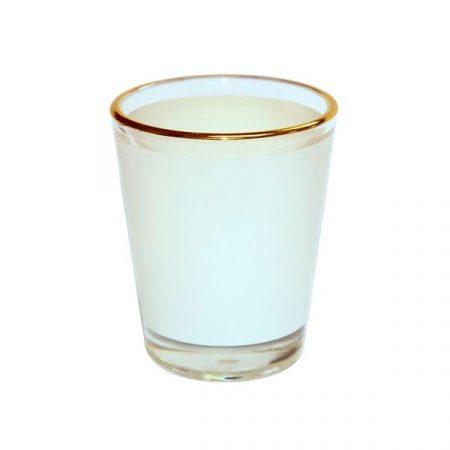 Стъклен шот с бяло поле и златен кант
