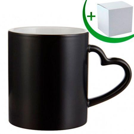 Черна магическа чаша с дръжка сърце МАТ