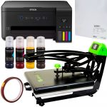 Heat press Galaxy Auto Clam II + Printer Epson A4 (loaded) + sublimation paper and tape