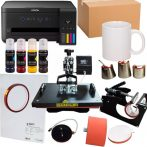 Heat Press Combo 8in1 + Printer Epson A4 (loaded) + 36 pcs mugs + sublimation paper and tape