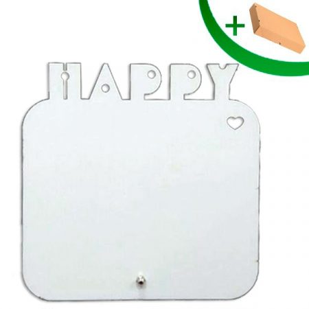 MDF frame HAPPY (with stand and box)