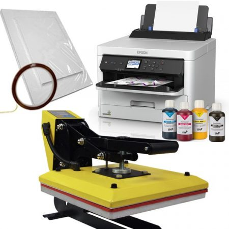 Преса с плот 38х38см - YELLOW + Принтер А4 Epson Workforce  (зареден) + хартия и тиксо