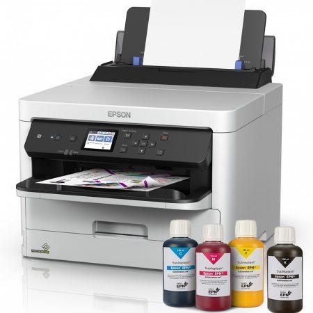Printer A4 Epson Workforce + 4x125 ml ink Sublisplash + sublimation paper