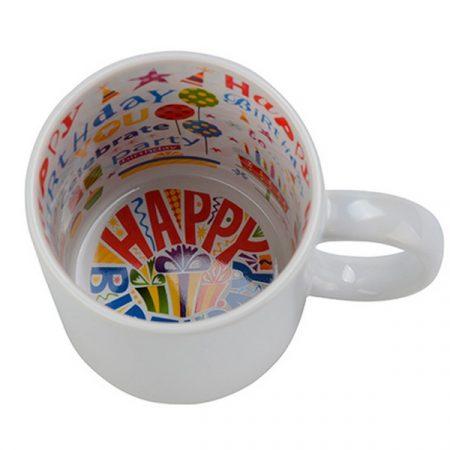"""Бяла чаша с вътрешност """"Happy Birthday"""""""