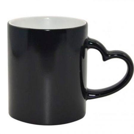 11oz Full Color Change Mug with Heart Handle Black, ONE