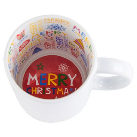 """Бяла чаша с вътрешност """"Merry Christmas"""""""