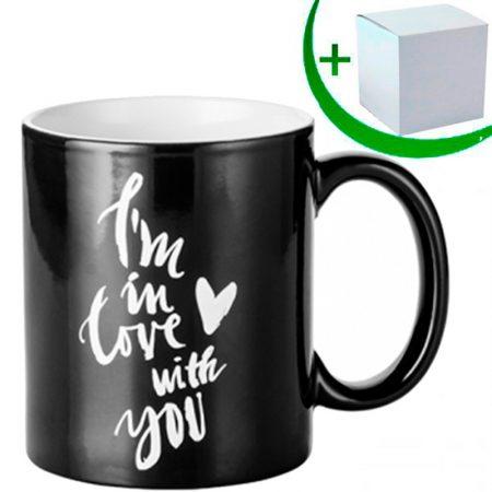 Черна магическа чаша с гравирана картинка LOVE