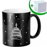 Черна магическа чаша с гравирана картинка HAPPY BIRTHDAY