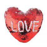 Калъфка за възглавница сърце 43х35 см (пайети)