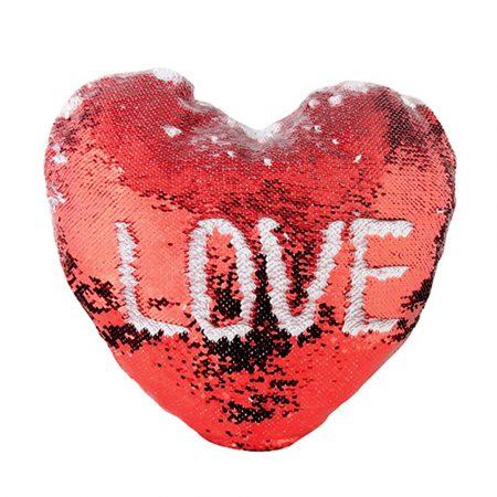 Калъфка за възглавница сърце 43х35 см (червени пайети)