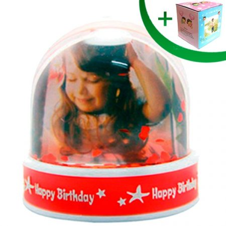 Преспапие - Happy Birthday (сребристи частици)