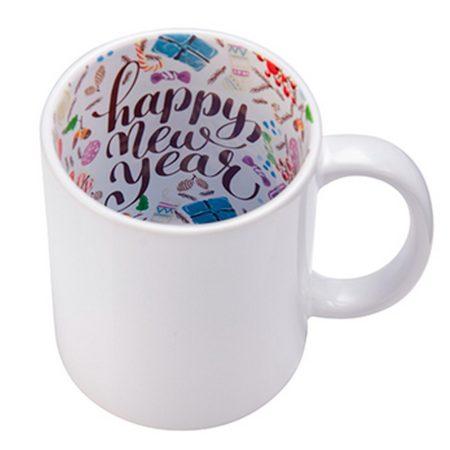 """Бяла чаша с вътрешност """"Happy New Year"""""""