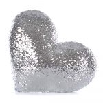 Sequin Pillow - HEART (silver)