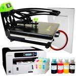 Heat press Galaxy Auto Clam II + Ricoh 3110 (loaded) + sublimation paper and tape