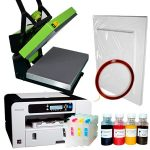 Heat press HOBBY + Ricoh 3110 (loaded) + sublimation paper and tape