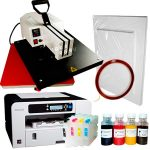 Heat press HPM-07 + Ricoh 3110 (loaded) + sublimation paper and tape