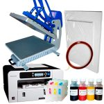 Heat press CLAM-C44 + Ricoh 3110 (loaded) + sublimation paper and tape